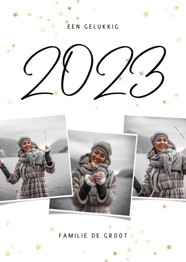 Nieuwjaarskaarten - Nieuwjaarskaart fotocollage 2022 met gouden sterren