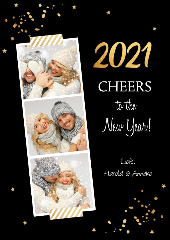 Nieuwjaarskaarten - Nieuwjaarskaart fotocollage confetti goud