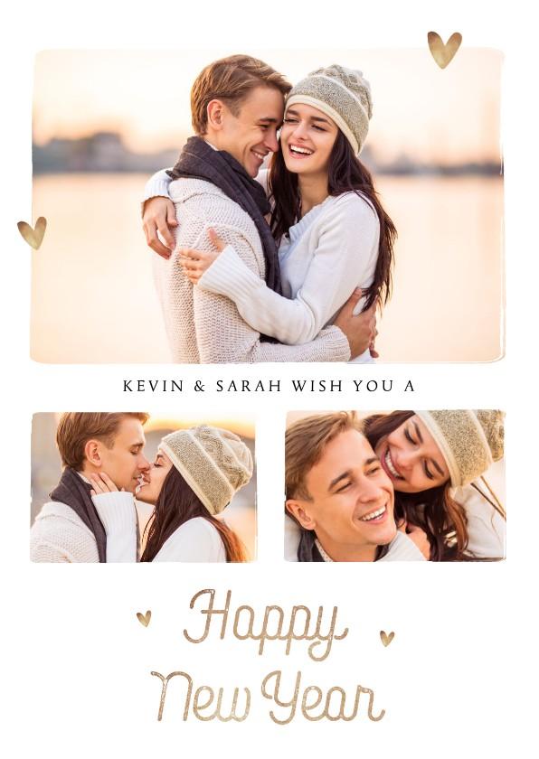 Nieuwjaarskaarten - Nieuwjaarskaart fotocollage goudlook hartjes