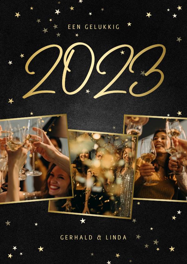 Nieuwjaarskaarten - Nieuwjaarskaart fotocollage handgeschreven 2022 krijtbord