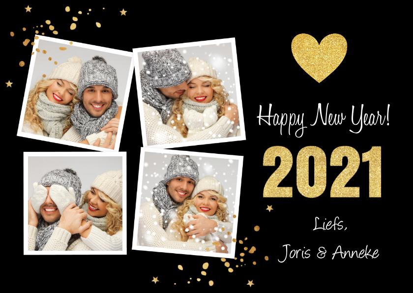 Nieuwjaarskaarten - Nieuwjaarskaart fotocollage hartje goudlook