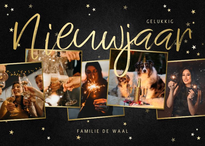 Nieuwjaarskaarten - Nieuwjaarskaart fotocollage met krijtbord en sterren