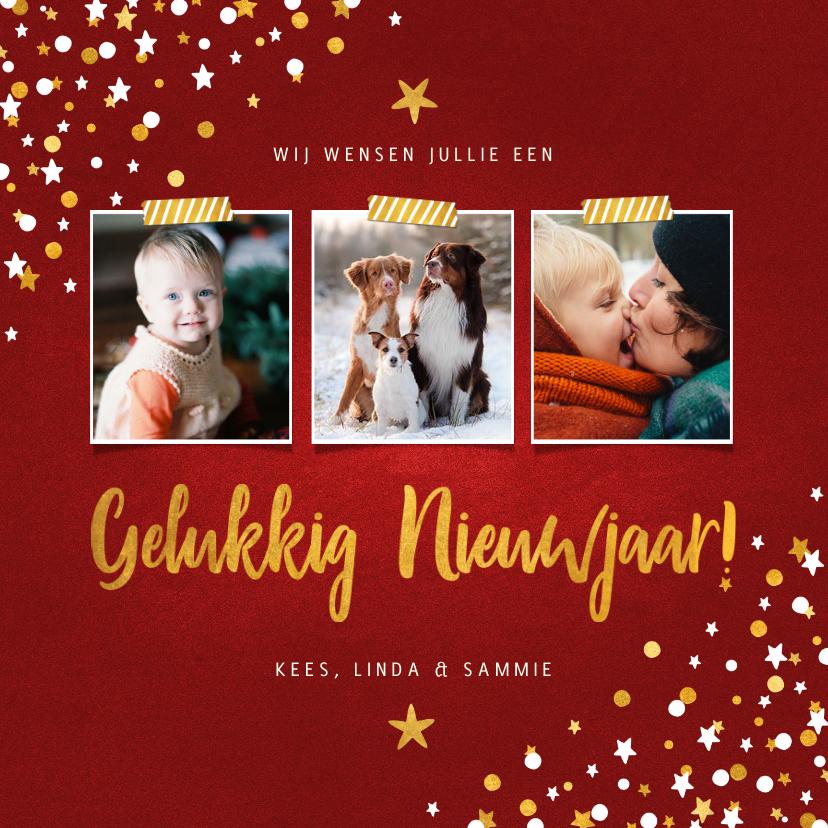 Nieuwjaarskaarten - Nieuwjaarskaart fotocollage rood met confetti