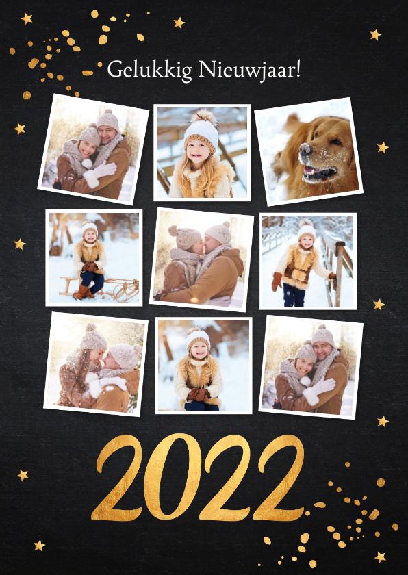 Nieuwjaarskaarten - Nieuwjaarskaart fotocollage zwart confetti goudlook