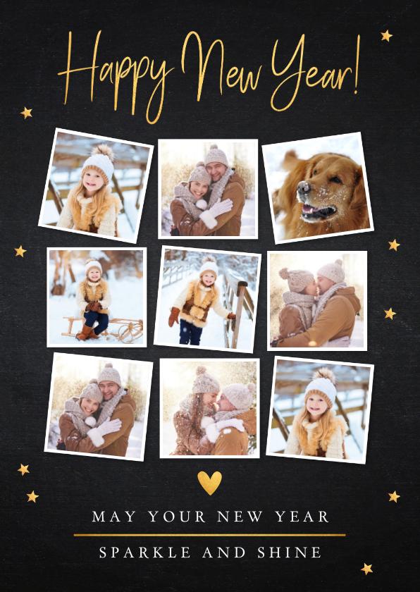 Nieuwjaarskaarten - Nieuwjaarskaart fotocollage zwart goudlook