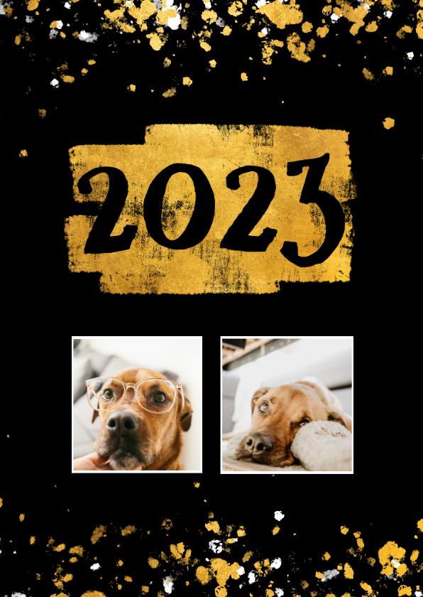 Nieuwjaarskaarten - Nieuwjaarskaart foto's gouden vlak '2022' confetti