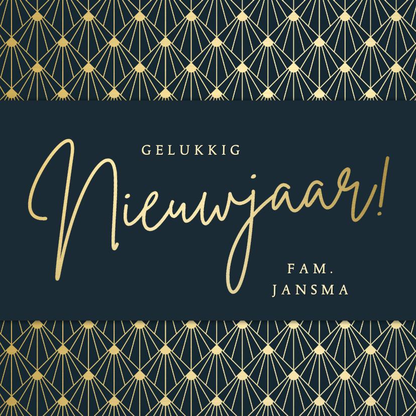 Nieuwjaarskaarten - Nieuwjaarskaart gelukkig nieuwjaar - art deco stijl met goud