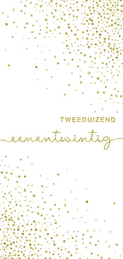 Nieuwjaarskaarten - Nieuwjaarskaart glitter wit met'tweeduizendeenentwintig'