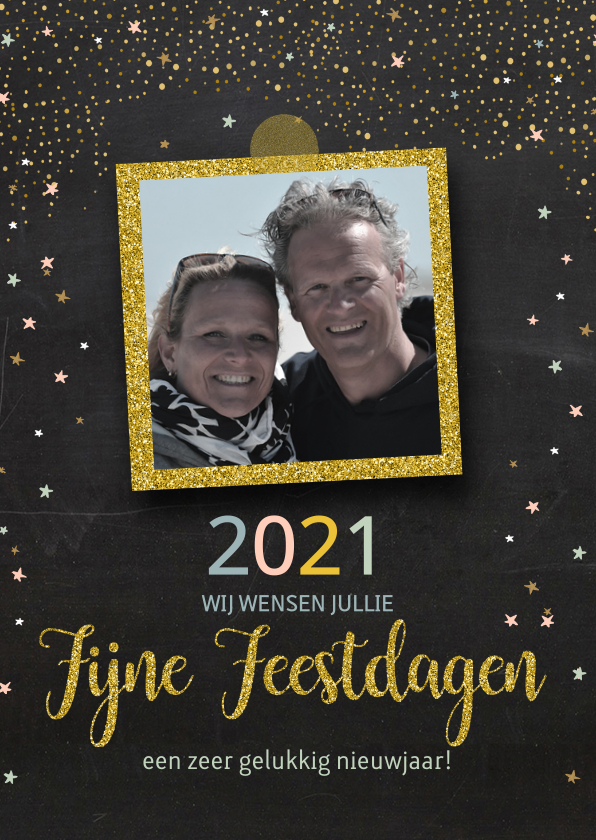 Nieuwjaarskaarten - nieuwjaarskaart goud confetti av