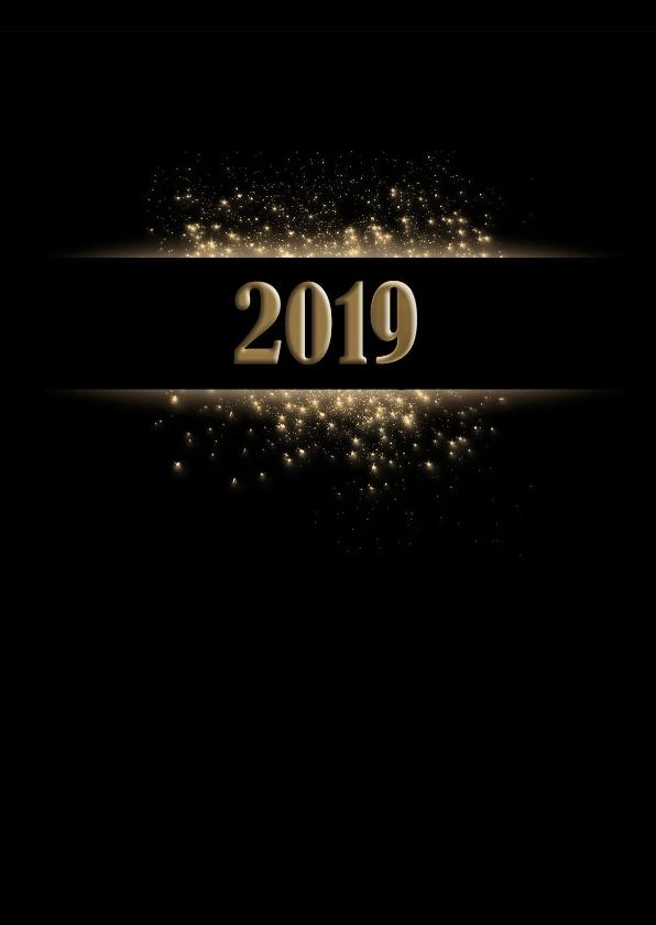 Nieuwjaarskaarten - Nieuwjaarskaart goud op zwart