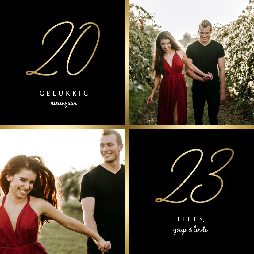 Nieuwjaarskaarten - Nieuwjaarskaart gouden 2022 met 2 foto's