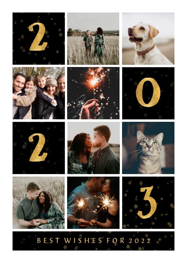 Nieuwjaarskaarten - Nieuwjaarskaart gouden 2022 met vakjes en foto's