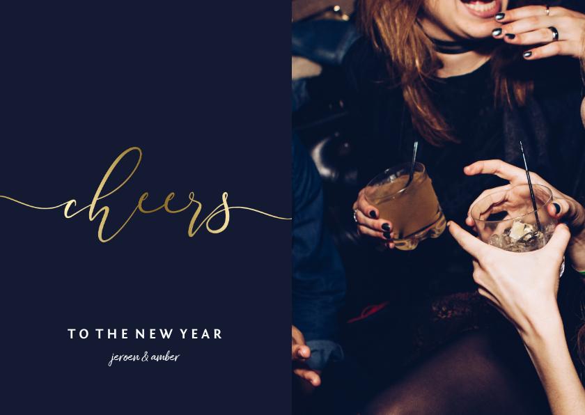 Nieuwjaarskaarten - Nieuwjaarskaart gouden 'cheers' en foto
