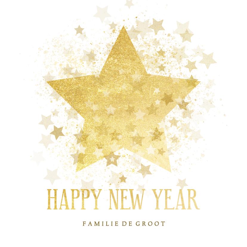 Nieuwjaarskaarten - Nieuwjaarskaart gouden ster stijlvol Happy new Year