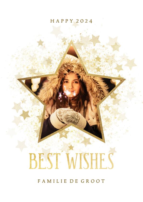 Nieuwjaarskaarten - Nieuwjaarskaart gouden ster stijlvol