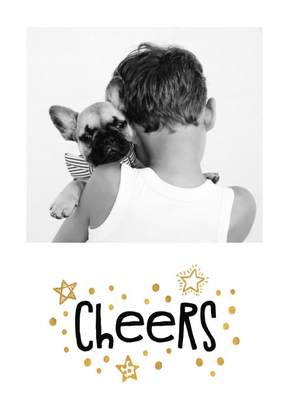 Nieuwjaarskaarten - Nieuwjaarskaart goudlook 'cheers' met foto