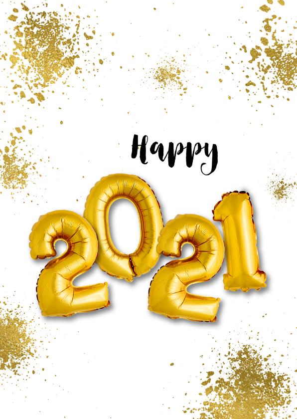 Nieuwjaarskaarten - Nieuwjaarskaart goudspetters en ballonnen