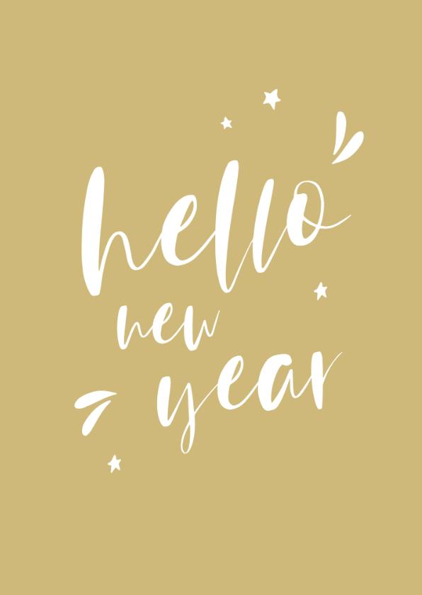 Nieuwjaarskaarten - Nieuwjaarskaart handlettering hello new year