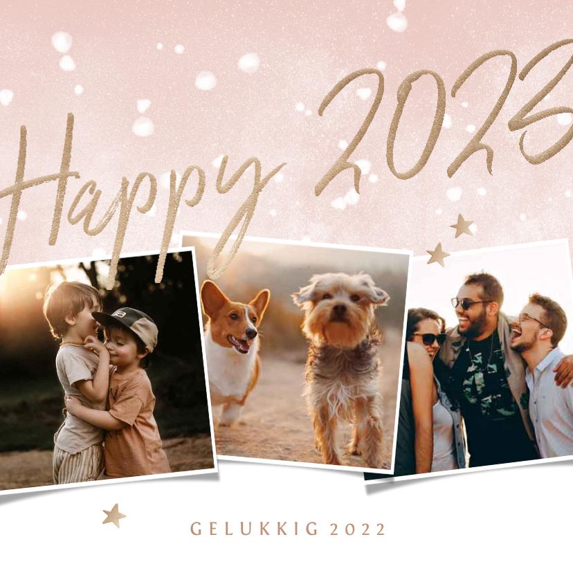 Nieuwjaarskaarten - Nieuwjaarskaart happy 2022 met 3 foto's en waterverf sneeuw
