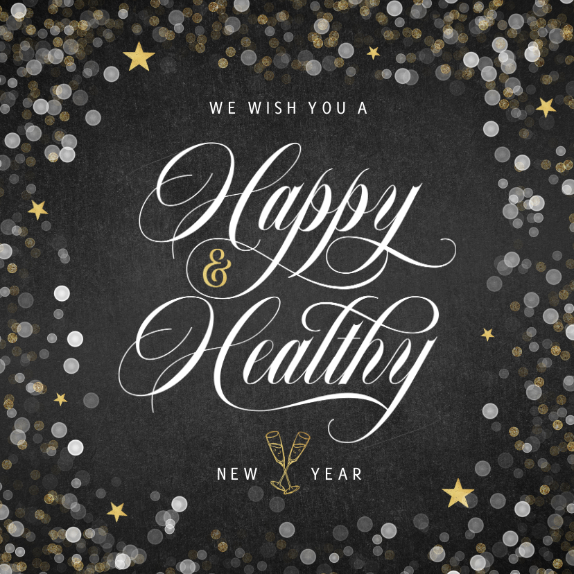 Nieuwjaarskaarten - Nieuwjaarskaart happy healthy krijtbord confetti goud ster