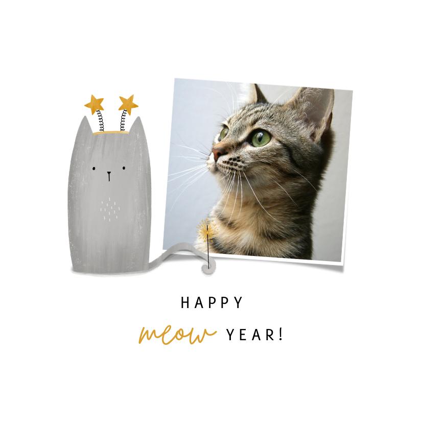 Nieuwjaarskaarten - Nieuwjaarskaart happy meow year met foto en kat