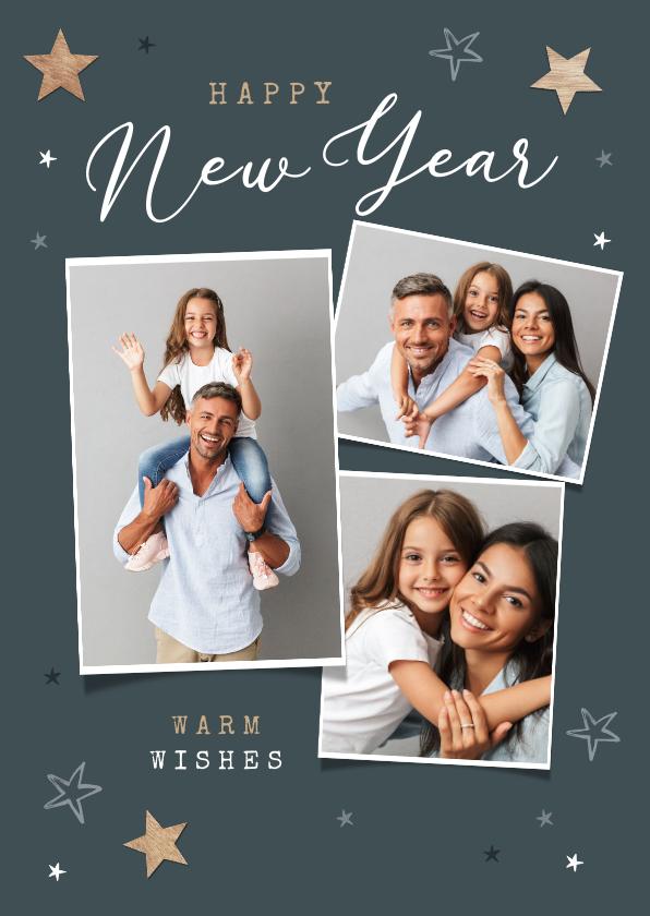 Nieuwjaarskaarten - Nieuwjaarskaart happy new year fotocollage sterren hout