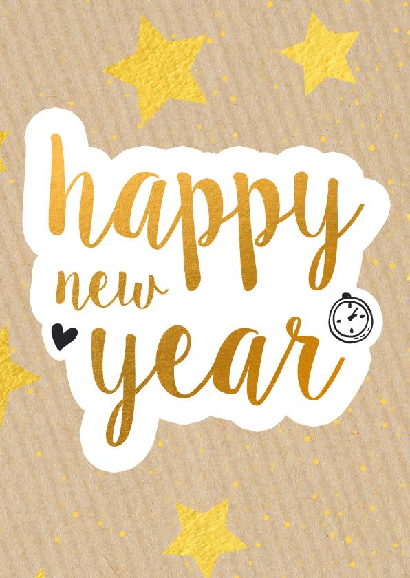 Nieuwjaarskaarten - Nieuwjaarskaart happy new year gold 2021