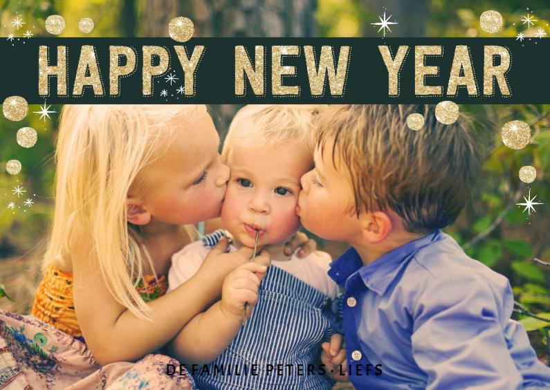 Nieuwjaarskaarten - Nieuwjaarskaart Happy New Year goud sterren