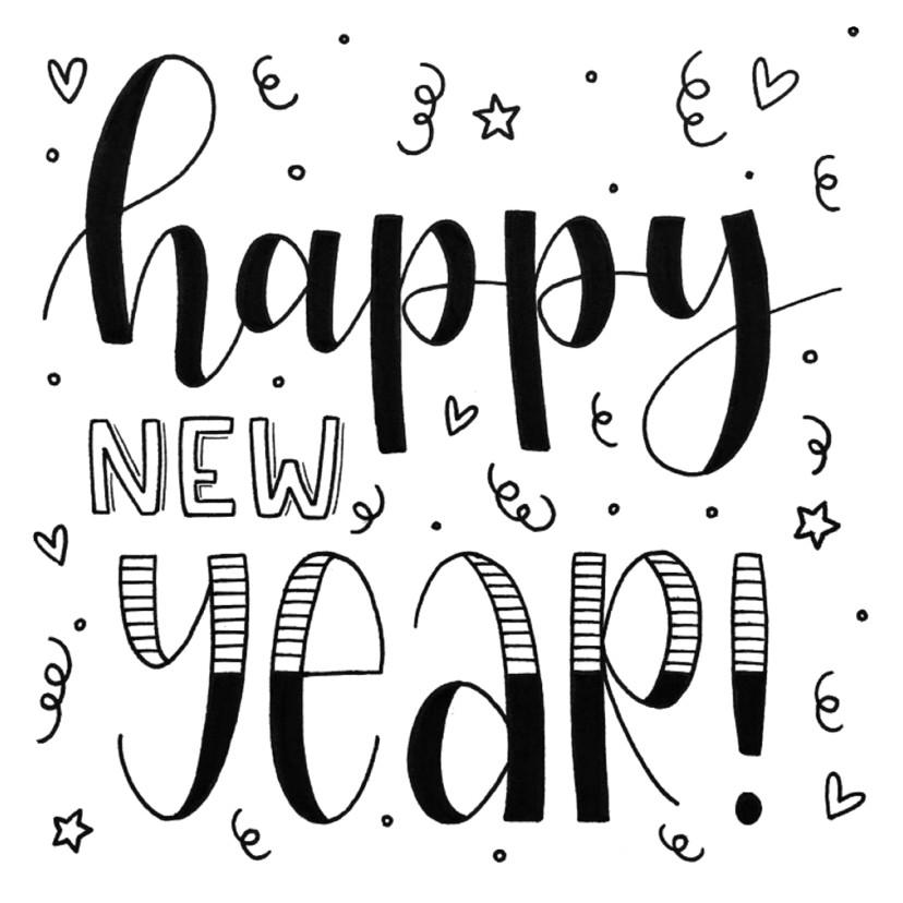 Nieuwjaarskaarten - Nieuwjaarskaart - Happy new year handlettering