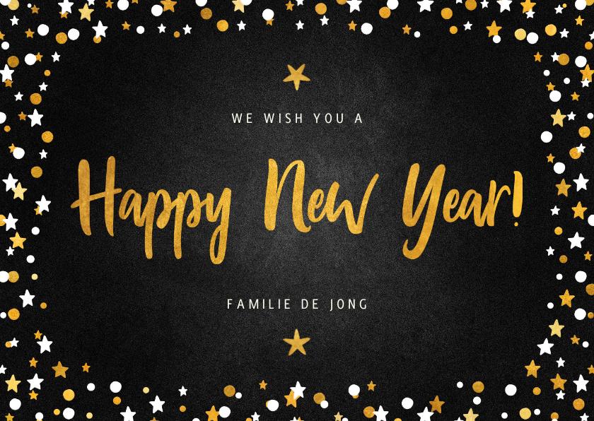 Nieuwjaarskaarten - Nieuwjaarskaart happy new year krijtbord met confettikader