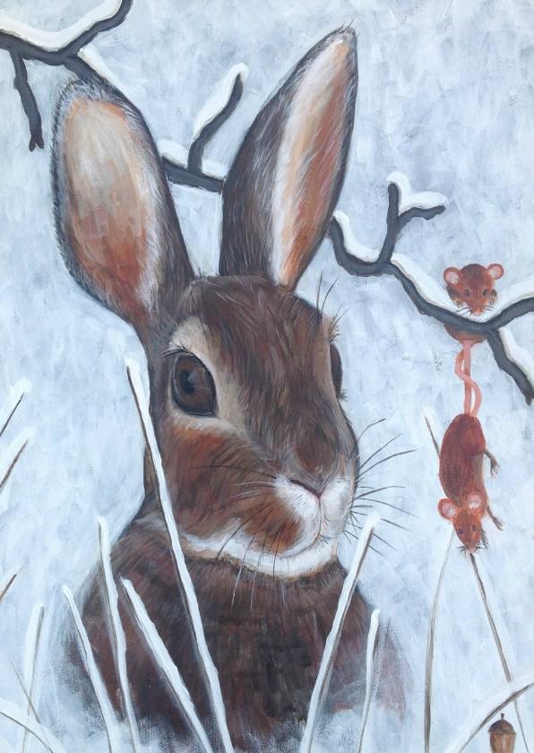 Nieuwjaarskaarten - Nieuwjaarskaart Happy New year rabbit