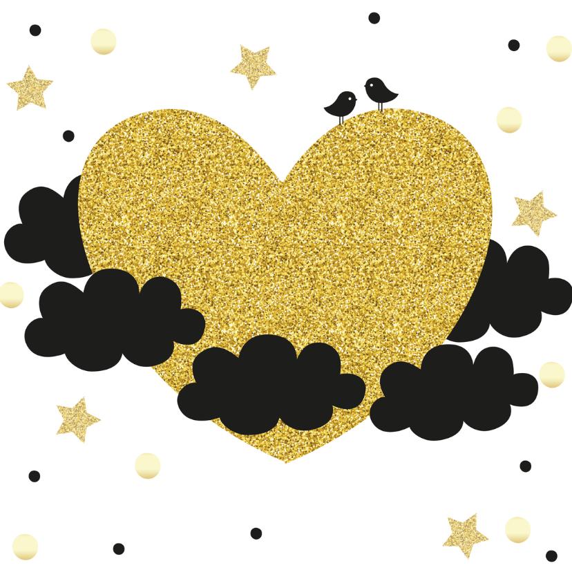 Nieuwjaarskaarten - Nieuwjaarskaart hart van goud