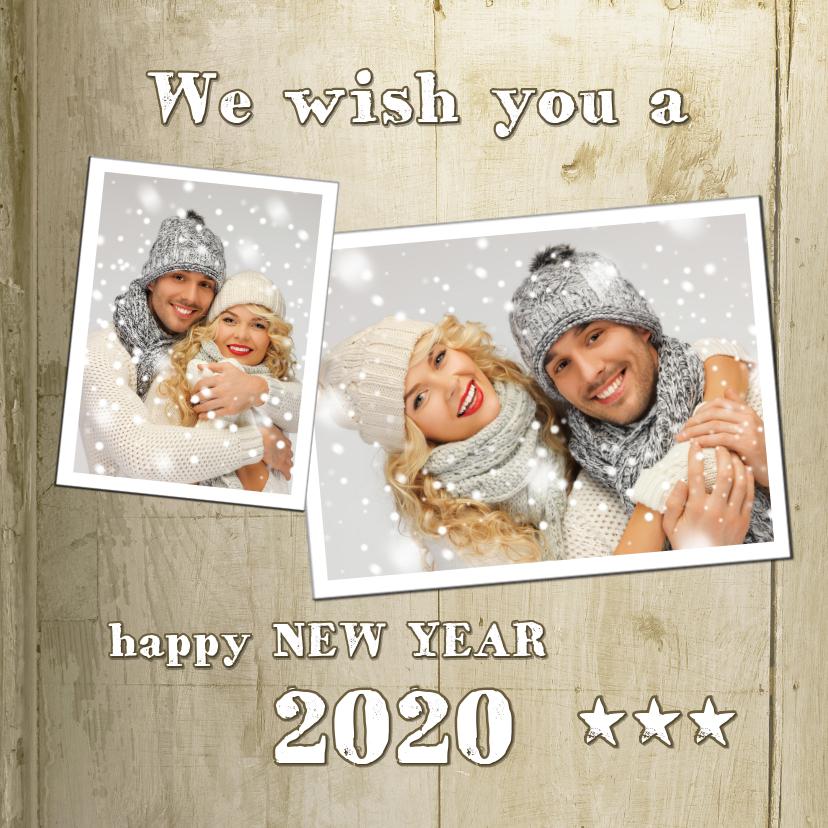 Nieuwjaarskaarten - Nieuwjaarskaart Hip Houtprint Foto 2019