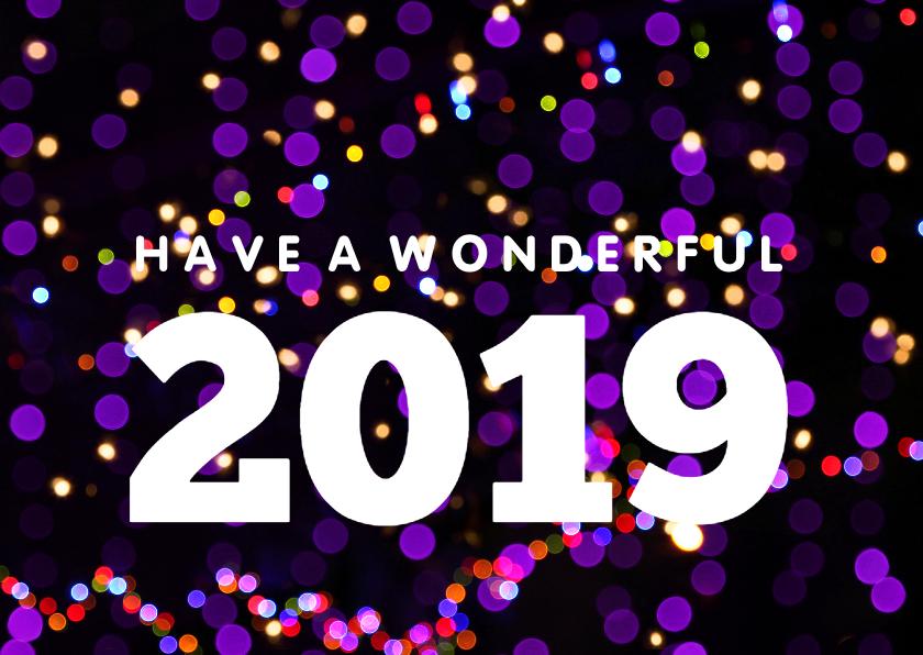 Nieuwjaarskaarten - Nieuwjaarskaart hip met neon lichtjes