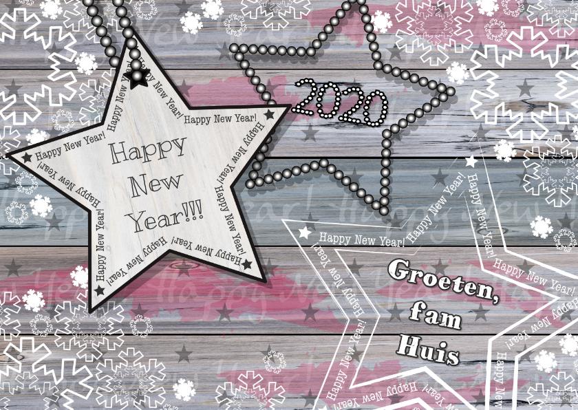 Nieuwjaarskaarten - Nieuwjaarskaart hout sneeuw ster