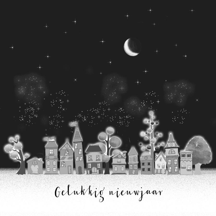 Nieuwjaarskaarten - Nieuwjaarskaart huisjes vuurwerk
