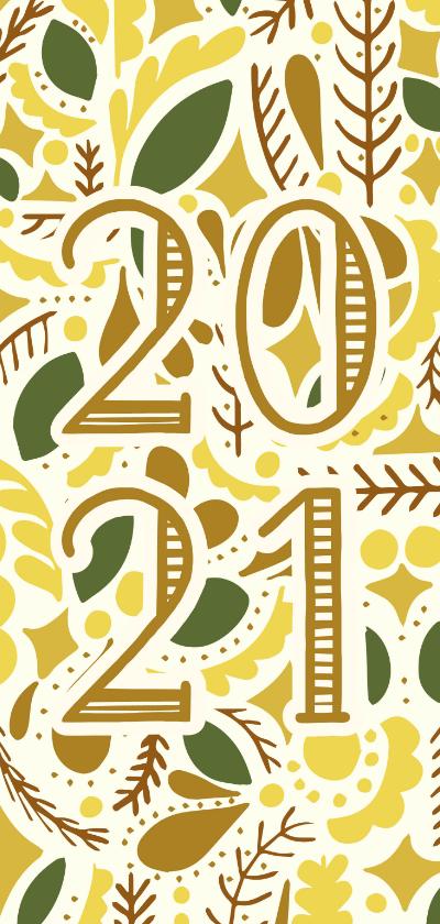 Nieuwjaarskaarten - Nieuwjaarskaart illustraties geel/goud '2021'