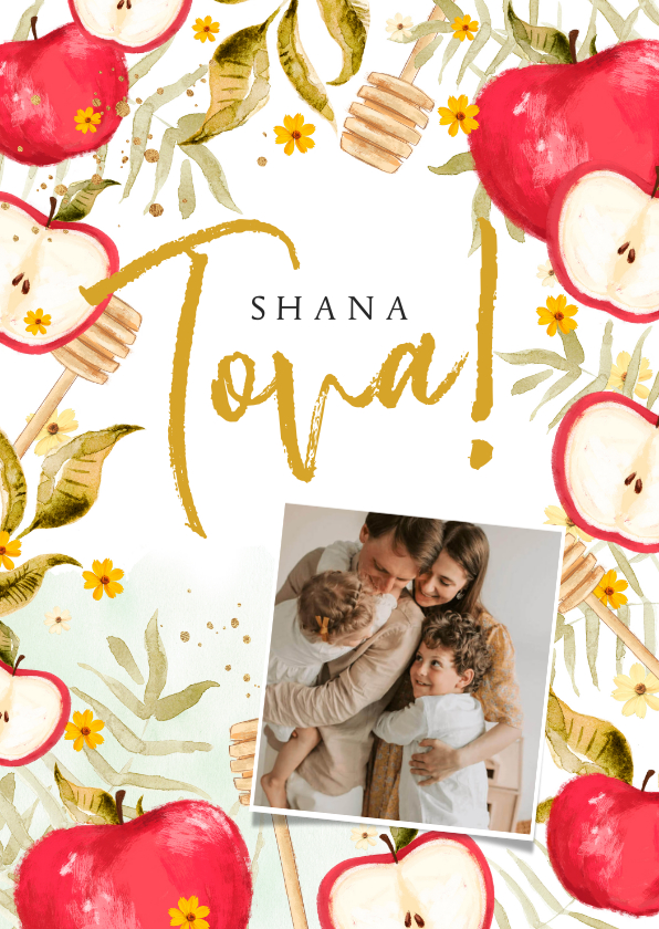 Nieuwjaarskaarten - Nieuwjaarskaart joods met foto, appels, honinglepels