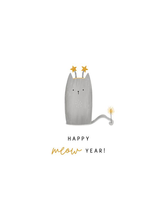 Nieuwjaarskaarten - Nieuwjaarskaart kat happy meow year