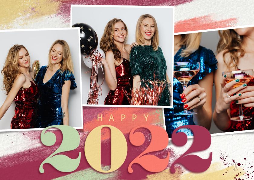 Nieuwjaarskaarten - Nieuwjaarskaart kleurrijk 2022 fotocollage