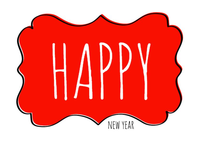Nieuwjaarskaarten - Nieuwjaarskaart label rood - SG