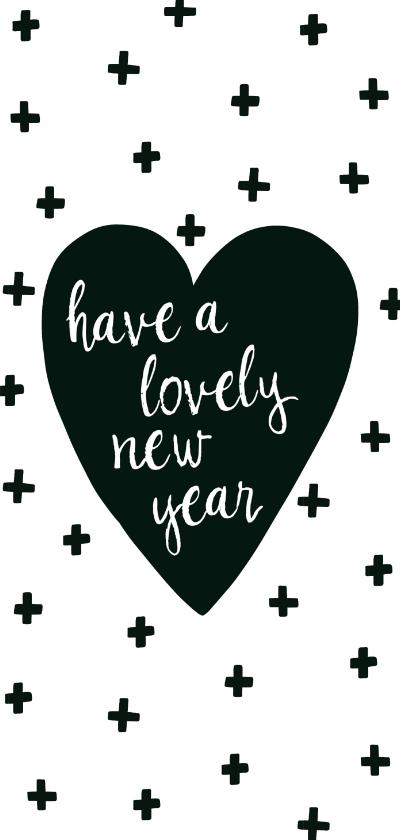 """Nieuwjaarskaarten - Nieuwjaarskaart lang """"hart"""""""