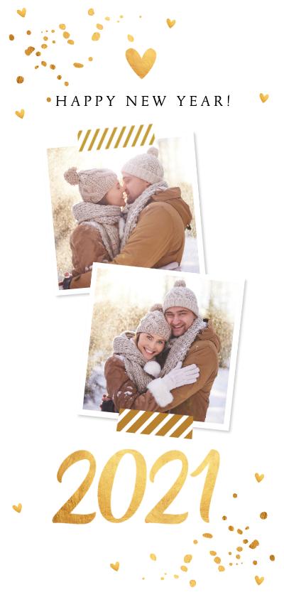 Nieuwjaarskaarten - Nieuwjaarskaart langwerpig goud confetti foto