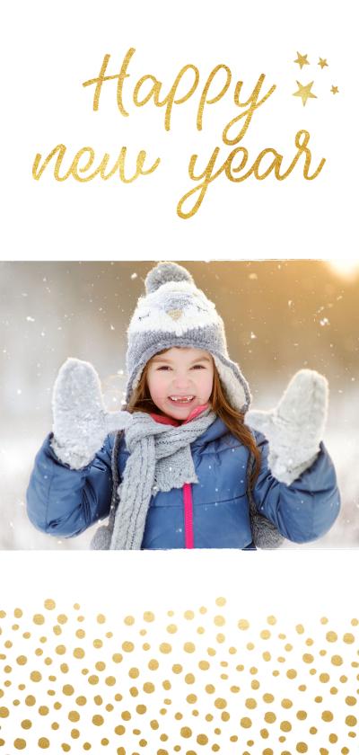 Nieuwjaarskaarten - Nieuwjaarskaart langwerpig met gouden stippen
