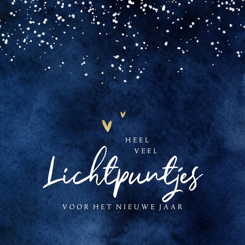 Nieuwjaarskaarten - Nieuwjaarskaart lichtpuntjes sterren hartjes waterverf