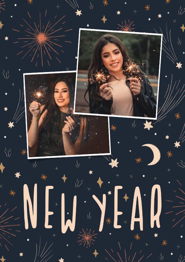 Nieuwjaarskaarten - Nieuwjaarskaart met 2 foto's, vuurwerk en sterren