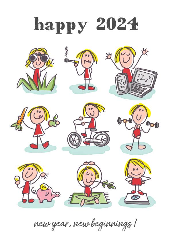 Nieuwjaarskaarten - Nieuwjaarskaart met 9 figuurtjes met goede voornemens