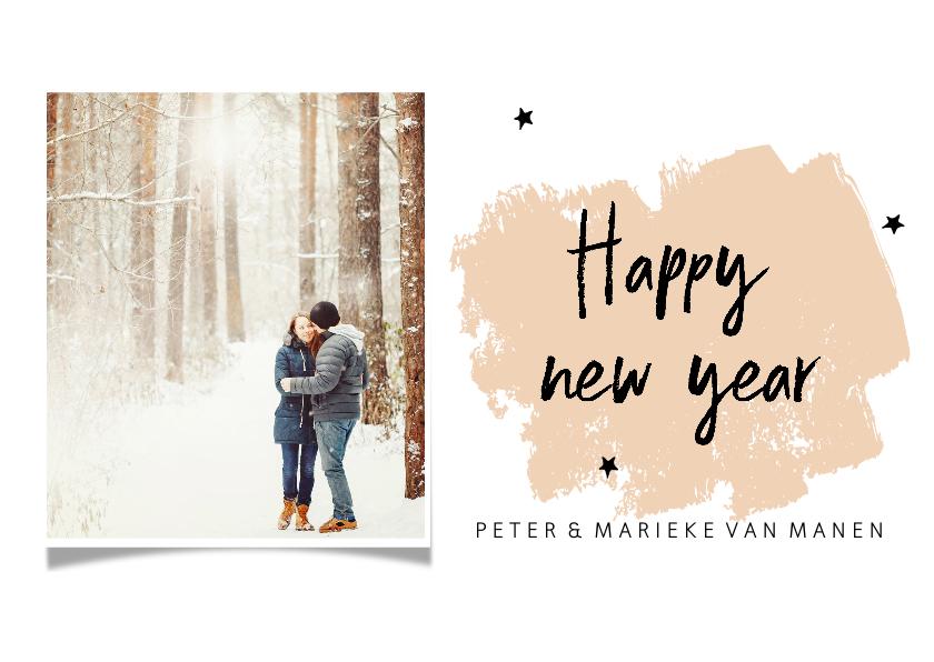 Nieuwjaarskaarten - Nieuwjaarskaart met brush en eigen foto