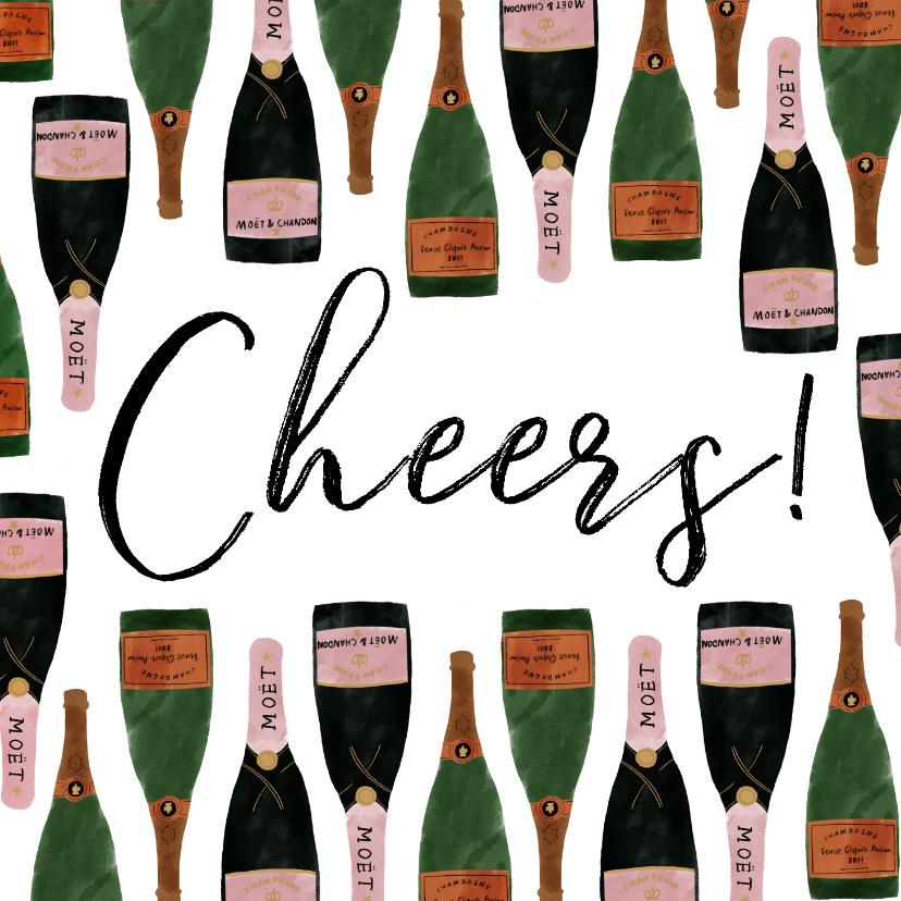 Nieuwjaarskaarten - Nieuwjaarskaart met champagneflessen en cheers!