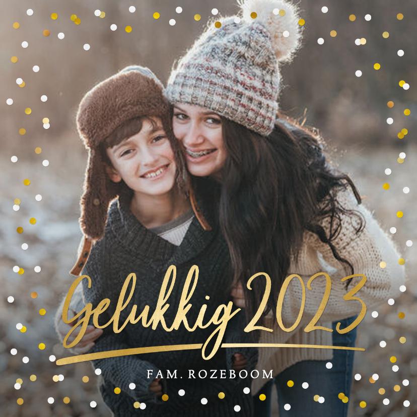 Nieuwjaarskaarten - Nieuwjaarskaart met eigen foto, gouden 2022 en confetti
